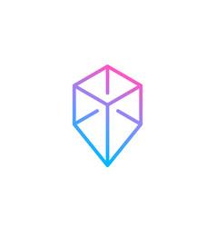 Cube geotag or location pin logo icon design vector