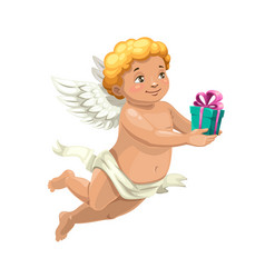 Cupid angel with valentine day or wedding gift vector