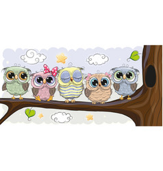 Cute owls is sitting on a brunch vector