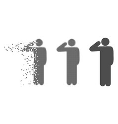 Disintegrating pixel halftone salute pose icon vector