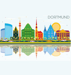 Dortmund germany city skyline with color vector
