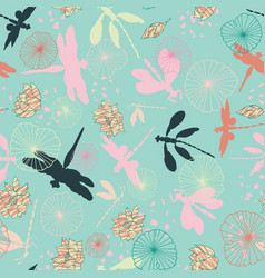 Dragonglies flying over a waterlily pond in an vector