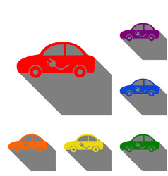 electric car sign set of red orange yellow vector image