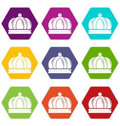 empire crown icons set 9 vector image
