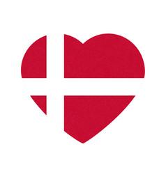 Flag of denmark in heart shape scandinavian vector