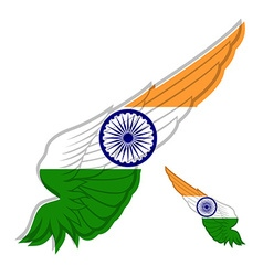 Flag of India on abstract Wing and white vector