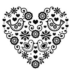 folk art valentines day heart - love wedding vector image
