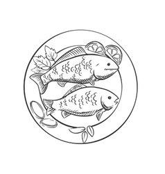 Fried fish with lemon and herbs vector