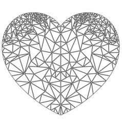 Geometric polyart heart shape inspired in black vector
