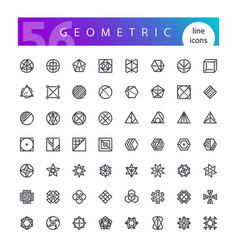 Geometric symbols line icons set vector