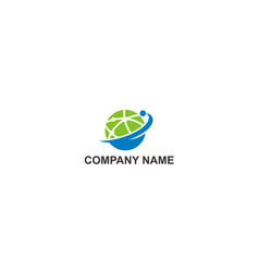 globe connection technology company logo vector image
