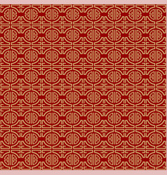 Gold archs on red background - retro style chinese vector