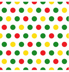 green red yellow polka dots on white background vector image