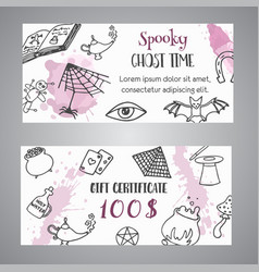 hand drawn halloween banner free voucher template vector image