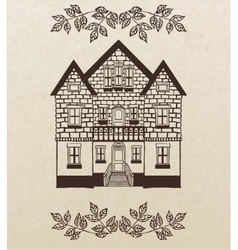 hand-drawn house with stairs vector image