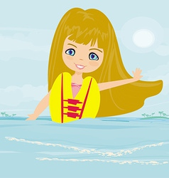 Happy girl in lifejacket vector image