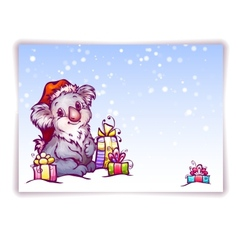 Hare in Christmas hat vector