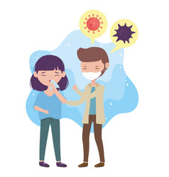 Health online man with mask and girl vector