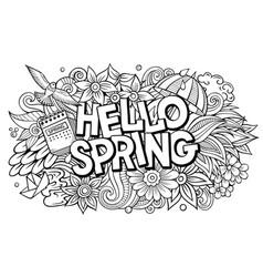 Hello spring hand drawn cartoon doodles vector