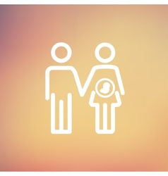 Husband with pregnant wife thin line icon vector