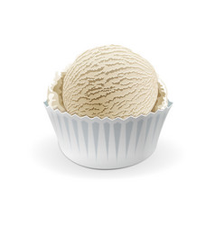 ice cream scoops in white cups of vanilla vector image