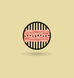Icon two slices bacon on barbecue grill vector