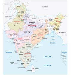 india administrative and political zones map vector image