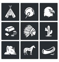 Indians Wild West icons set vector