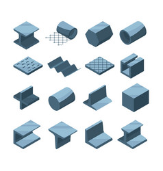 industrial icons set of metallurgic production vector image