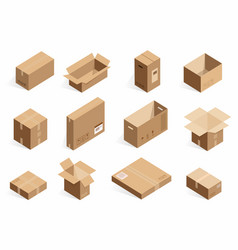 Isometric realistic cardboard delivery boxes vector
