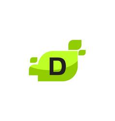 Leaf initial d logo design template vector