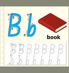 letter b tracing alphabet worksheets vector image