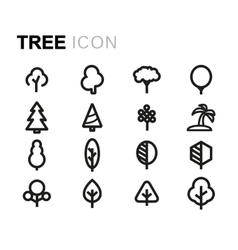 Line tree icons set vector