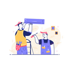 male workers repairing detail vector image