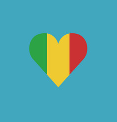 mali flag icon in a heart shape in flat design vector image