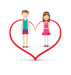 Man and woman inside heart icon boy and girl in vector