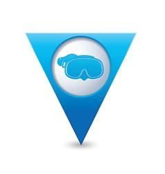 mask symbol on map pointer blue vector image