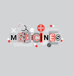 Medicines health care creative word over abstract vector