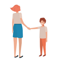 mother and son avatar character vector image