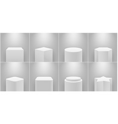 Museum stage empty product pedestal white column vector