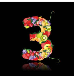 number three made from fruits vector image