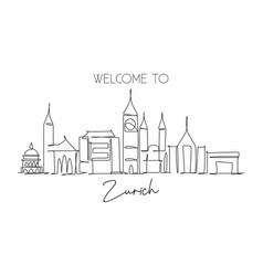 one continuous line drawing zurich city vector image