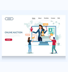 Online auction website landing page design vector