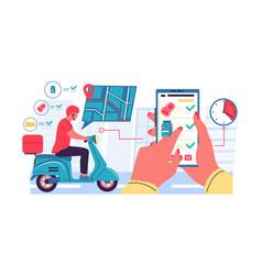 online delivery app women holding smartphone vector image