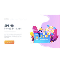 Overspending concept landing page vector
