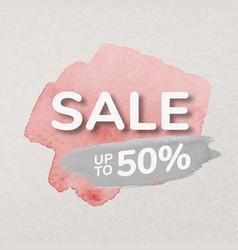 Pink paint sale badge sticker watercolor brush vector