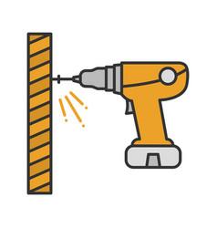Portable electric screwdriver color icon vector