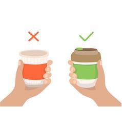 Reusable coffee cup and disposable cup - zero vector
