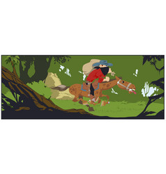 robber with prey gallops in dense forest vector image