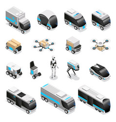 robot delivery isometric icons vector image